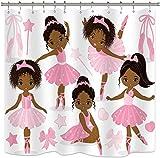 Rosa Balletto Tenda Della Doccia Ragazza Carina Ballerina Ballerina Gonna Ginnastica Kid Nursery Bagno Bambino Tessuto Impermeabile fo A 183x183cm