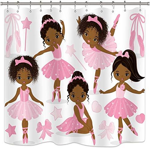Rosa Ballett Duschvorhang Nettes Mädchen Ballerina Tänzerin Rock Gymnastik Kind Kindergarten Badezimmer Kind Stoff Wasserdicht für A 183x183cm