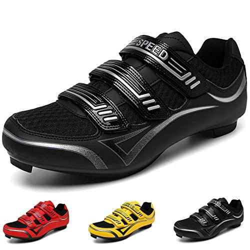 MIAOML Scarpe da Ciclismo da Uomo Scarpe da Ciclismo da Uomo,Cinturino con Fibbia Precisa Scarpe da Mountain Bike Sneakers Indoor Outdoor,Black 1-46 EU