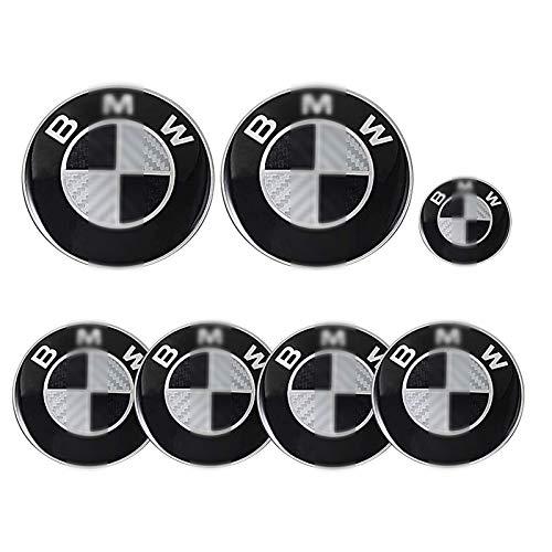 7 Teile Für BMW 82MM Emblem, Motorhaube Und Kofferraum Und Emblem 68MM Radkappen Und 45MM Lenkrad Emblem Für Die Meisten BMW E34 E36 E38 E60 E61 E65 E66 X3 X5 X6 5 7 Modelle