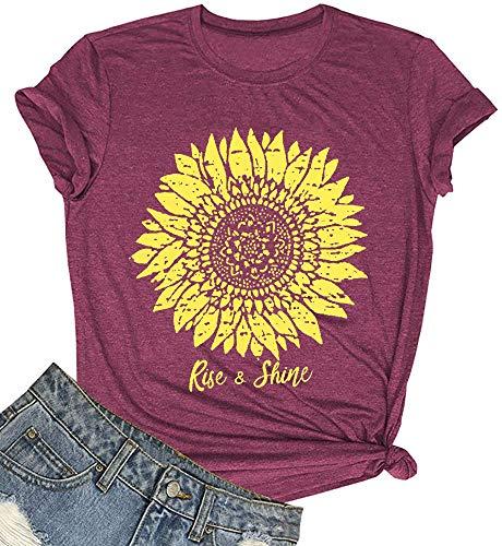 SUPEYA Peace Love Sunshine T-Shirt Women Sunflower Graphic Shirt Letter Print Tshirt Tee Top (Red, M)