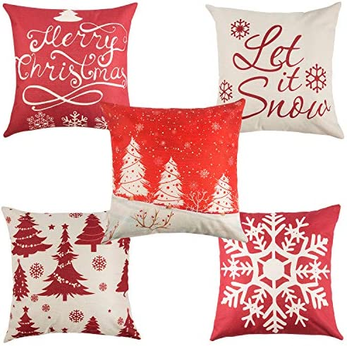 Yangbaga Set of 5 Christmas Pillow Cover Cotton Linen Decorative Pillowcases Christmas Snowflake Sofa Cushion Cover for Home Christmas Favor, 45 * 45cm / 18 * 18 Inches