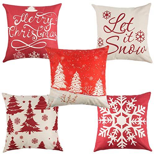 Yangbaga Fundas Navideñas para Cojines Algodón Lino Throw Pillow Juego de 5 Fundas de Almohada para Decoración de Hogar,Adorno para Fiesta de Navidad 45 * 45cm