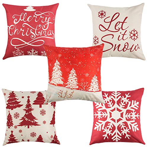 Yangbaga Set of 5 Christmas Pillow Cover Cotton Linen...