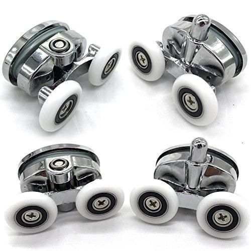 Lot de 4 roulettes de porte de douche - À deux roues - Ovales - En forme de papillon (23mm)