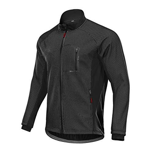 Huanxin Herren Radjacke, Windundurchlässige wasserdichte Fleece Radjacke Winter Thermo-Bike Bekleidung Langarm-Shirt,Schwarz,4XL