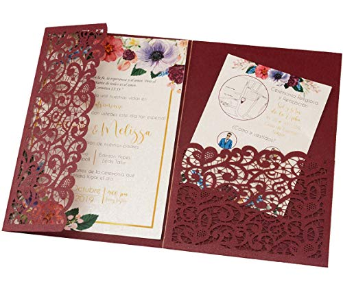"25pcs 5""x7.28"" Burgundy Vintage Tri Fold Wedding Invitations Cards pocket Pearl Paper Laser Cut Hollow Carving Greeting invites Covers only no envelope no insert"