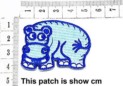 Best Deals! Baby Blue Hippo Animal Funny Cartoon Chidren Kids Embroidren Iron Patch/Logo Sew On Patc...