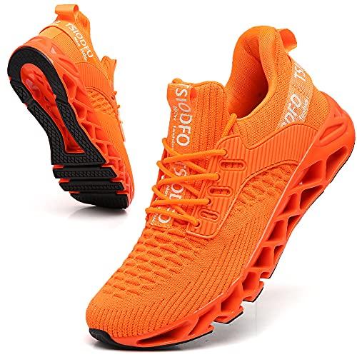 SKDOIUL Men Sport Running Sneakers Tennis Athletic Walking Shoes Mesh Breathable Comfort Fashion Casual Gym Runner Jogging Orange Size 7