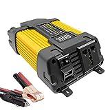 Convertisseur 12v 220v 500W/1000W Modifiée Sinus DC to AC Car Power Inverter Transformateur avec Connection USB et Pinces pour Batterie de Voiture UnionFan