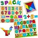 Puzzles de Madera Educativos, Rompecabezas de Madera para Niños 2 3 4 5 6 años, Juguetes Montessori de Madera, Regalo de Cumpleaños/Navidad para Bebés/Niños