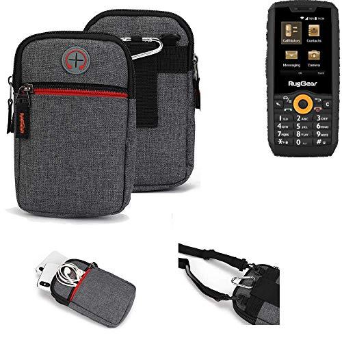 K-S-Trade® Gürtel-Tasche Für Ruggear RG150 Handy-Tasche Holster Schutz-hülle Grau Zusatzfächer 1x