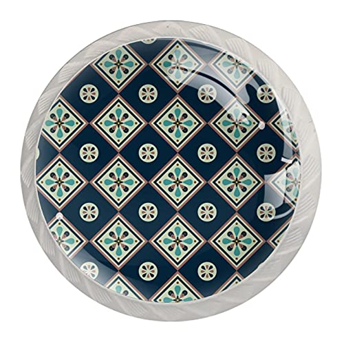 Pomos de cristal azul oscuro para cajones y tiradores de 3 cm, 4 unidades