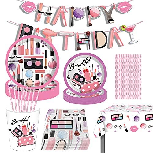 Amycute 16 Invitados Suministros de Fiesta de Cumpleaños para Niños, Vajillas de MakeUp para Fiesta de Cumpleaños Decoración Baby Shower, Incluye Banner, Platos, Vasos, Servilletas, Paja, Mantel