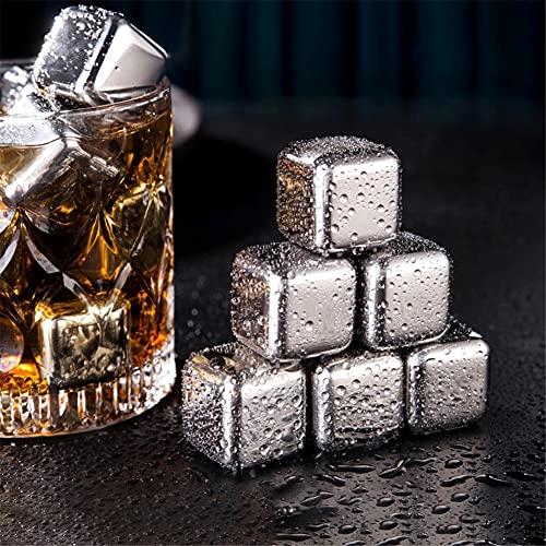 LDLD 6 Cubitos de Hielo de Acero Inoxidable Cubitos de Hielo Reutilizables con Pinzas adicionales Bandeja de congelador para Bebidas de Whisky, Vino y Gin-Tonic