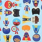 Hellblaues Wachstuch mit Superhelden