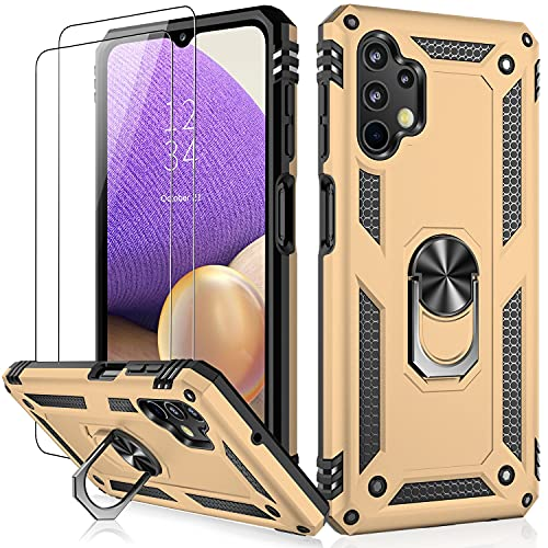 IKAZZ Galaxy A32 5G Case with Screen Protector,Military Grade Shockproof Cover Pass 16ft Drop Test Protective Phone Case with Magnetic Kickstand Car Mount Holder for Samsung Galaxy A32 5G Gold