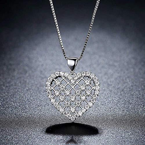 BGPOM Kristall Anhänger Halskette Badminton Mesh Liebe Herzform Roségold Silber Halskette Schmuck Geschenk für Frauen Swarovski Diamanten