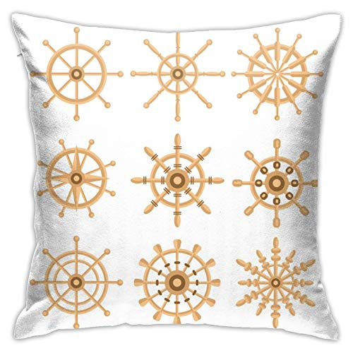 WAZHIJIA Sea Steering Wheel Pillow Covers Decorative Square Pillowcase Soft Solid Cushion Case for Sofa Bedroom Car 18 X 18 Inch