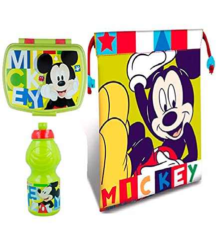 Set sandwichera infantil, botella de agua y Bolsa Merienda de Cuerdas. Pack Diseño Colorido | Sandwichera Escolar | Material Escolar Vuelta al Cole. (Mickey Mouse)