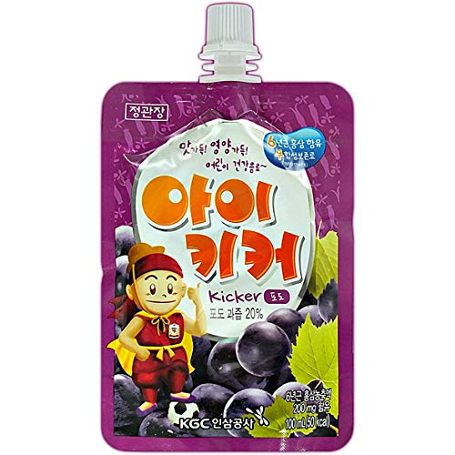 Korean 6 years Old Red Ginseng Fruit Juice Drink for Kids: 대한민국 6년근 홍삼 어린이 과일맛 음료   정관장 아이키커 포도, 10 Pouches