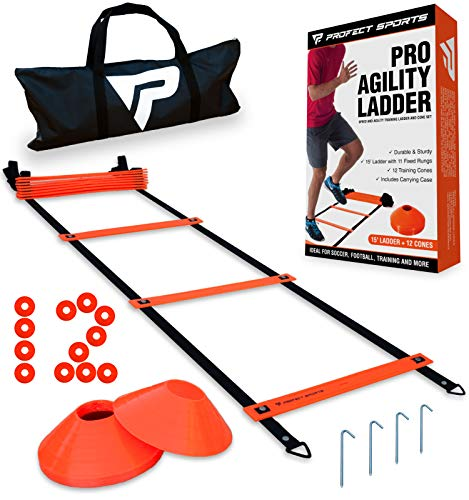 Pro Agility Ladder and Cones - 15 ft Fixed-Rung Speed Ladder with 12 Disc Cones for Soccer, Football, Sports, Exercise, Workout, Footwork Training - Includes 4 Stakes and Heavy Duty Carry Bag (Orange)