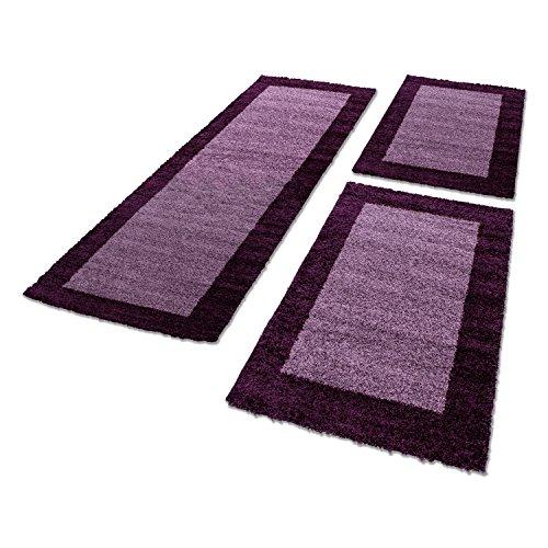 Bettumrandungen 3 tlg. Läufer-Set kariert designer Hochflor Shaggy Teppiche 1503, Maße:2x 60x110 cm / 1x 80x250 cm, Farbe:Lila