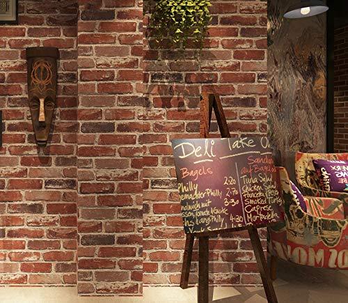 Rústico Vintage 3D Ladrillo de imitación Papel Pintado Rollo Vinilo PVC Retro Industrial Loft Papel de Pared Rojo Negro Gris Amarillo Lavable 5.3m²