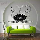 HGFDHG Estilo Boho Lotus Tatuajes de Pared decoración del Dormitorio Yoga Pegatinas de Pared calcomanías de Vinilo decoración del hogar Hermosas Pegatinas de Bordado de Mariposa
