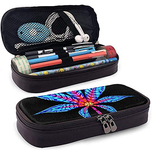 Estuche de lápices de cuero de PU, estuche marcador de almacenamiento de hojas de marihuana, bolsa de maquillaje cosmético, bolsa de lápiz organizador de papelería