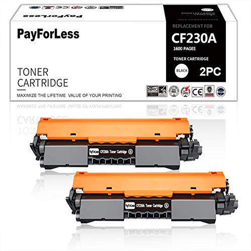 PayForLess 2PK for HP 30A CF230A Toner for HP Laserjet M203dw M203d M203dn HP Laserjet Pro MFP M227fdn M227fdw M227sdn M227d HP MFP M227d Toner Laserjet M203d
