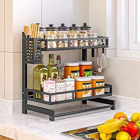 LACKINGONE 2 Tier Spice Rack Organizer for Cabinet Countertop or Wall Mount Kitchen Cabinet Organizer Punch Free Stainless Steel Seasoning rack Jars Bottle Storage Spice Organizer with 6 Hooks, Black