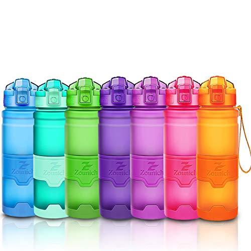 ZOUNICH Trinkflasche Sport BPA frei Kunststoff Sporttrinkflaschen für Kinder Schule, Joggen, Fahrrad, öffnen mit Einer Hand Trinkflaschen Filter, Orange, 17oz/500ml