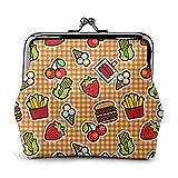 Cherry Cute Fruit Strawberry Corn Chips Vintage Pouch Girl Kiss-lock Cambia borsa Portafogli Fibbia Portamonete in pelle Chiave Donna Stampata