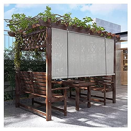 XJJUN Außenrollo, Atmungsaktiv, Reißfester Sonnenschutz, 90% UV-Beständigkeit Sichtschutz, Für Pergola-Terrassendach (Color : Gray, Size : 0.6x2.5m)