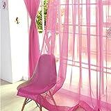 Cortina de gasa colorida con diseño floral de tul para ventana, divisor para bodas, decoración del hogar (2 unidades), color rojo rosa