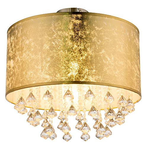 Decken Lampe Schlaf Gäste Zimmer Stoff Schirm Kristall Leuchte Blatt-Gold Design Globo 15187D3S
