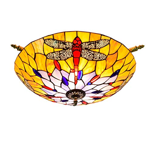 Iluminación de techo de vidrieras 55CM Tiffany Amarillo libélula creativa vidrio de color de la lámpara de techo amplio salón comedor del arte dormitorio barra de la lámpara de techo semi-ictericia es