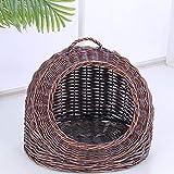 Chat Maison Pet lit rotin nid de Chat - condo de Chat Lavable Confortable et créatif - Tampon de Coton Gratuit (Color : A)