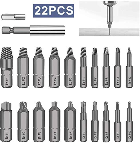 AFYHA 22 PCS Damaged Stripped Screw Extractor Set, Easily Remove Stripped & Damaged Screws, All-Purpose HSS Broken Bolt Extractor Screw Remover Set with Magnetic Extension Bit Holder & Socket Adapter