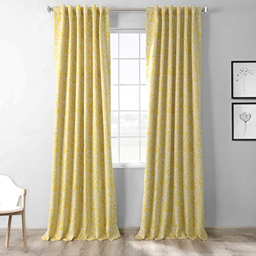 HPD Half Price Drapes BOCH-KC16075-84 Abstract Blackout Curtain,Misted Yellow,50 X 84