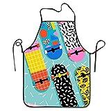 Patín Retro Patrón Deporte Moda Delantal con Peto Personalizado Em-Broidery Profesional Duradero Unisex Adecuado para Hornear en la Cocina