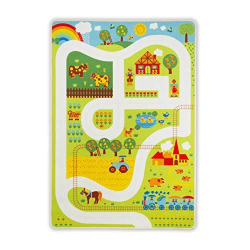 byGraziela Spielteppich   Kinderteppich Bauernhof   Straßenteppich für Kinder   Teppich 90 x 130cm
