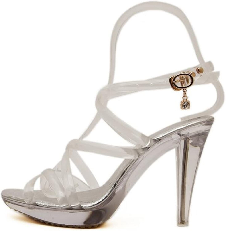 CJC High-Heeled Sandals Open Toe High Heels Thin High Heels Fashion Sexy Elegant Sandals Crystal. (Size   EU38 UK5.5)