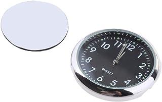 Homyl Carro Auto Relógio Stick-on Relógio Analógico De Quartzo - Preto fluorescente