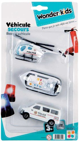 WDK PARTNER - A1300056 - Véhicules miniatures - 3 mini véhicules de secours - Modèle aléatoire