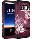 Hocase Galaxy S8 SM-G950 Case, Heavy Duty Protection Shock Absorbing Silicone Rubber Bumper+Hard Plastic Shell Hybrid Dual Layer Protective Case for Samsung Galaxy S8 5.8' 2017 - Burgundy Flowers