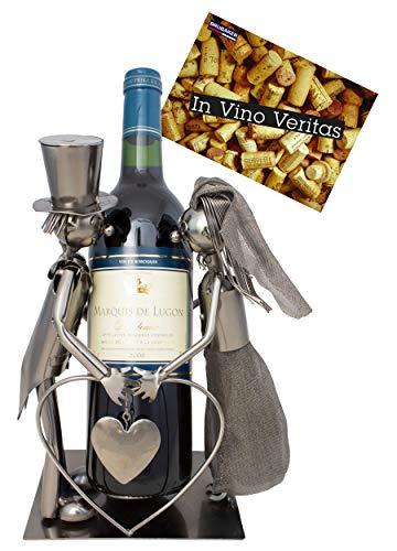 BRUBAKER Weinflaschenhalter Hochzeitspaar Brautpaar Deko-Objekt Metall mit Grußkarte für Hochzeitsgeschenk