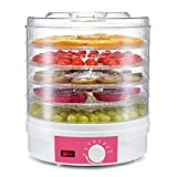 Secador de frutas con botón giratorio Fabricante de carne de carne Deshidratador de alimentos Con 5 bandejas control de temperatura