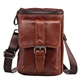 Sunmig Genuine Leather Men Small Messenger Shoulder Bag Crossbody Belt Pouch (9301)